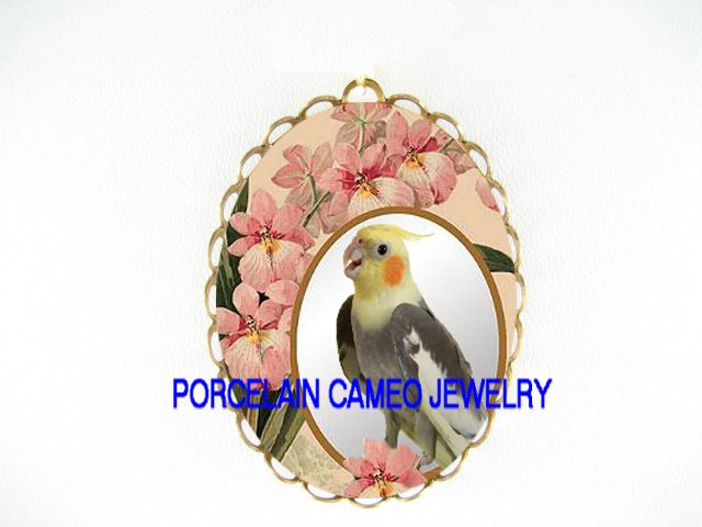 COCKATOO BIRD PINK ORCHID CAMEO PORCELAIN PIN PENDANT BROOCH