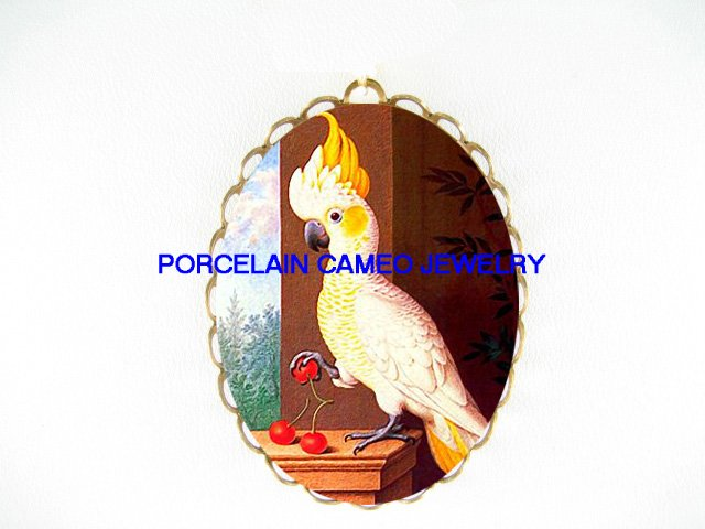 COCKATOO BIRD PINK CHERRY CAMEO PORCELAIN PIN PENDANT