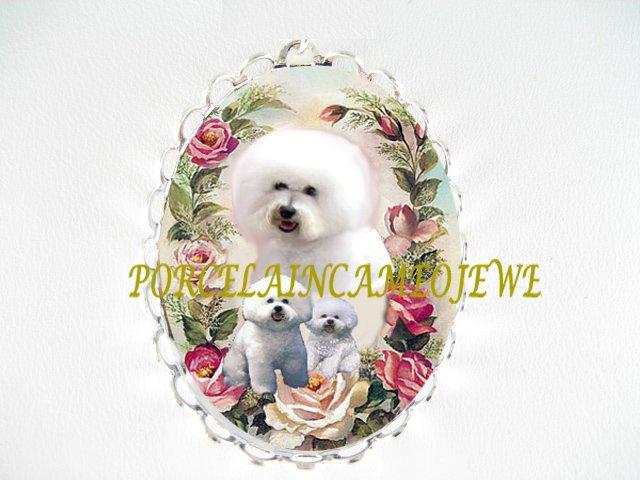 BICHON FRISE DOG MOM CUDDLE PUPPY PINK ROSE PIN BROOCH