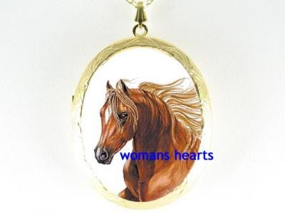 GOLDEN STALLION HORSE CAMEO PORCELAIN LOCKET NECKLACE