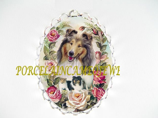 COLLIE DOG MOM CUDDLE PUPPY PINK ROSE PIN BROOCH
