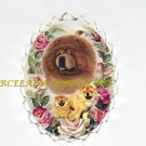 CHOW CHOW DOG MOM CUDDLE PUPPY PINK ROSE PIN BROOCH