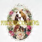 BASSET HOUND DOG MOM PUPPY ROSE CAMEO PIN BROOCH