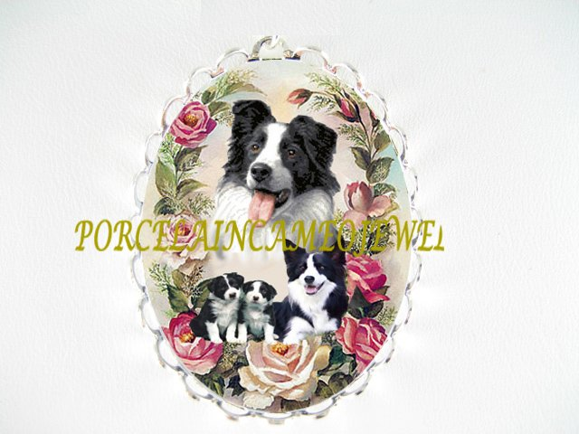 BORDER COLLIE DOG MOM PUPPY ROSE CAMEO PIN BROOCH