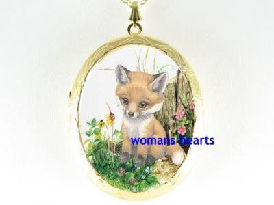 BABY RED FOX LADYBUG PORCELAIN CAMEO LOCKET NECKLACE