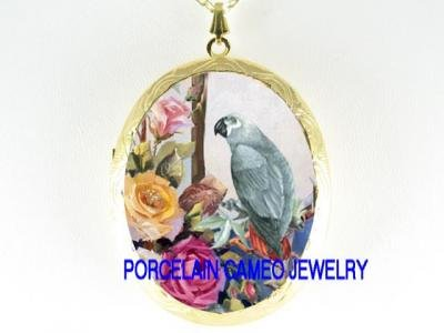 AFRICAN GRAY PARROT ROSE CAMEO PORCELAIN LOCKET NECKLACE
