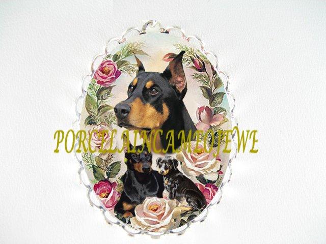 DOBERMAN PINSCHER DOG MOM PUPPY ROSE CAMEO PIN BROOCH
