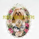 SHIH TZU DOG MOM PUPPY ROSE CAMEO PIN BROOCH