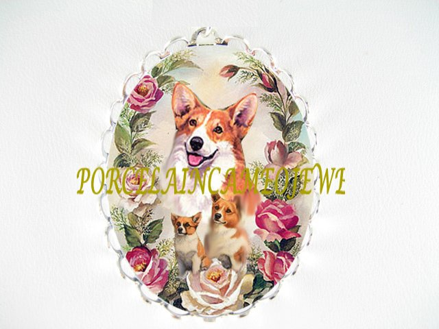 CORGI DOG MOM PUPPY ROSE CAMEO PORCELAIN PIN BROOCH