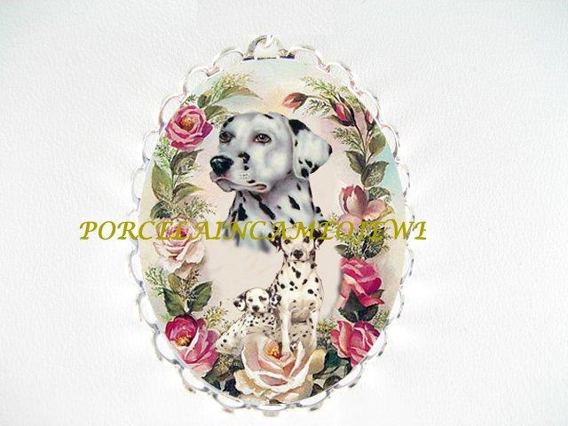 DALMATIAN DOG MOM PUPPY ROSE CAMEO PORCELAIN PIN BROOCH