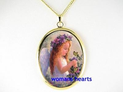 PANSY ANGEL WITH BUTTERFLY PORCELAIN CAMEO NECKLACE