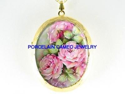 VICTORIAN PINK ENGLISH ROSE CAMEO PORCELAIN LOCKET NECKLACE