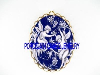 2 DANISH BLUE VICTORIAN ANGEL CHERUB*  CAMEO PORCELAIN PENDANT/PIN BROOCH
