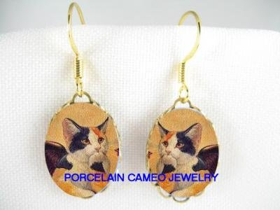 RAPHAEL CALICO ANGEL CAT CHERUB PORCELAIN CAMEO EARRRINGS
