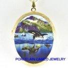 2 ORCA KILLER WHALE FAMILY JUMP MOUNTAIN CAMEO PORCELAIN LOCKET NECKLACE