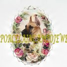 GREAT DANE DOG MOM PUPPY ROSE CAMEO PORCELAIN PIN BROOCH