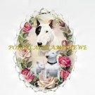 BULL TERRIER DOG MOM PUPPY ROSE CAMEO PIN BROOCH