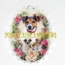 JACK RUSSELL DOG MOM PUPPY ROSE CAMEO PIN BROOCH