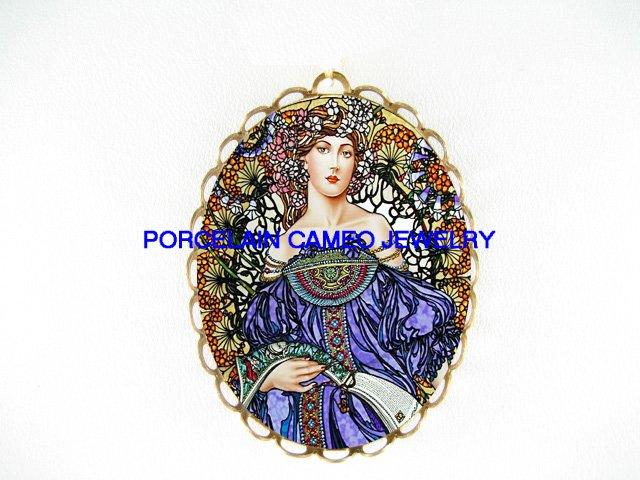 ART NOUVEAU BLUE ALPHONSE MUCHA CAMEO PIN PENDANT