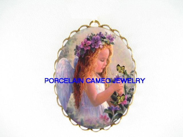 PANSY ANGEL GIRL BUTTERFLY CAMEO PORCELAIN PIN PENDANT
