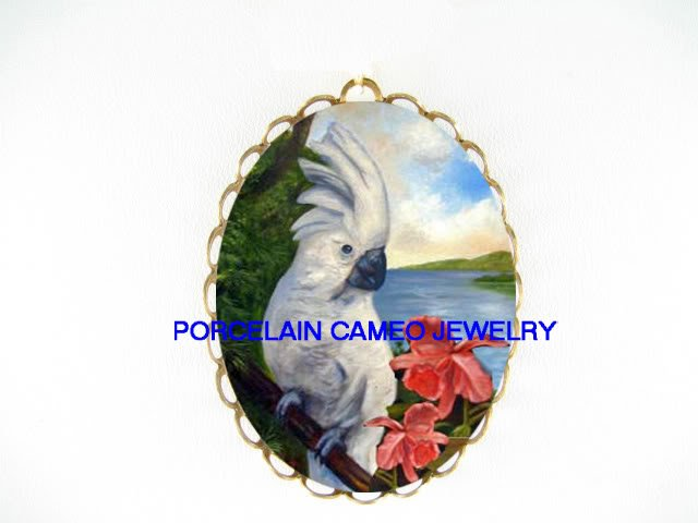COCKATOO BIRD WITH PINK ORCHID CAMEO PORCELAIN PIN PENDANT