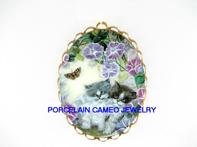 2 KITTY CAT MORNING GLORY BUTTERFLY CAMEO PORCELAIN PIN PENDANT
