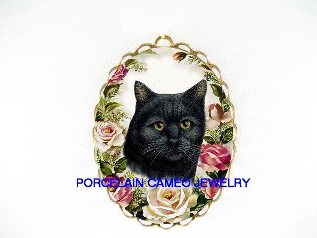 BLACK CAT PINK ROSE CAMEO PORCELAIN PIN PENDANT