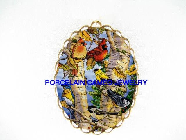 CARDINAL BIRD COLLAGE  TREE BRANCH CAMEO PORCELAIN PIN PENDANT