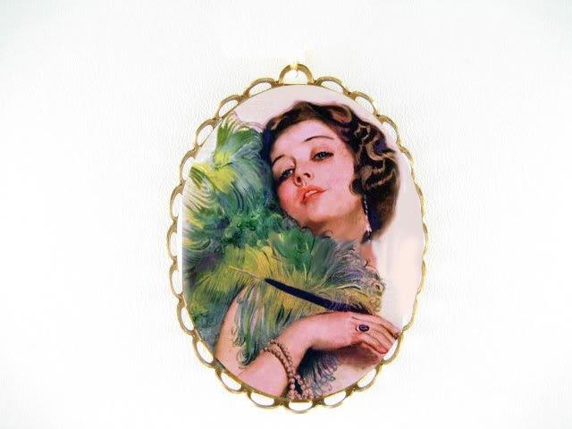 ART DECO FLAPPER LADY FAN CAMEO PORCELAIN PIN PENDANT