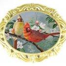 2 CARDINAL BIRD PORCELAIN CAMEO PIN PENDANT BROOCH