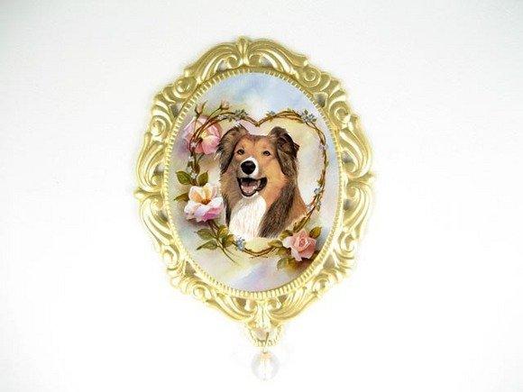 COLLIE DOG OPAL PORCELAIN CAMEO PENDTANT PIN BROOCH