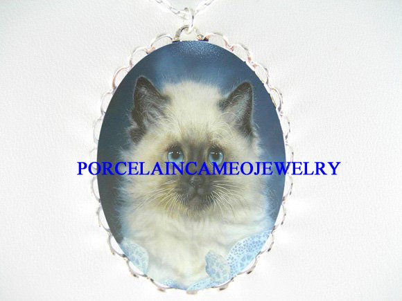 BLUE EYES HIMALAYAN CAT PORCELAIN CAMEO NECKLACE