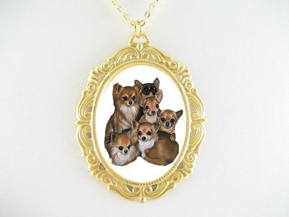 6 CHIHUAHUA DOG PUPPY PORCELAIN CAMEO PENDANT NECKLACE