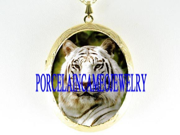 WHITE TIGER PORCELAIN CAMEO PENDANT LOCKET NECKLACE