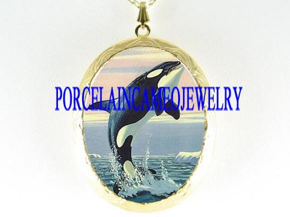 KILLER WHALE JUMPING PORCELAIN CAMEO LOCKET NECKLACE
