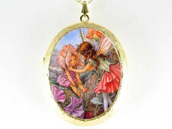 SWEET PEA BABY FAIRY PORCELAIN CAMEO LOCKET NECKLACE