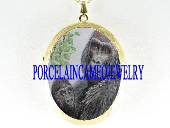 GORILLA MOM HOLDS BABY PORCELAIN CAMEO LOCKET NECKLACE