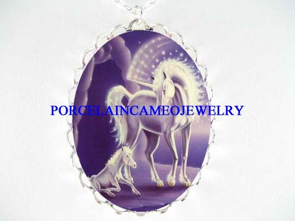 2 WHITE UNICORN HORSES* CAMEO PORCELAIN NECKLACE