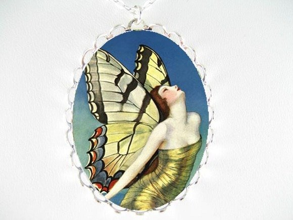 DECO ART GOLD BUTTERFLY WOMAN PORCELAIN CAMEO NECKLACE