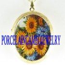 SUNFLOWER FORGET ME NOT PORCELAIN CAMEO LOCKET NECKLACE