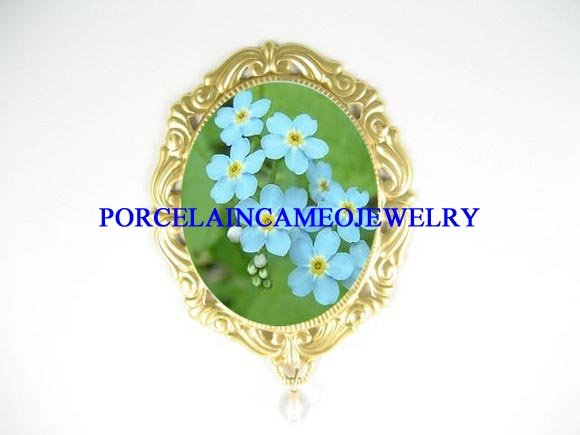 FORGET ME NOT OPAL PORCELAIN CAMEO PENDANT PIN BROOCH