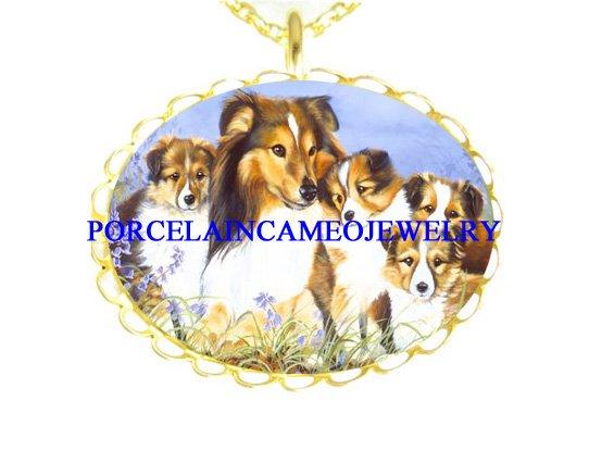 Shetland Sheepdog FAMILY MOM PUPPY PORCELAIN CAMEO NECKLACE