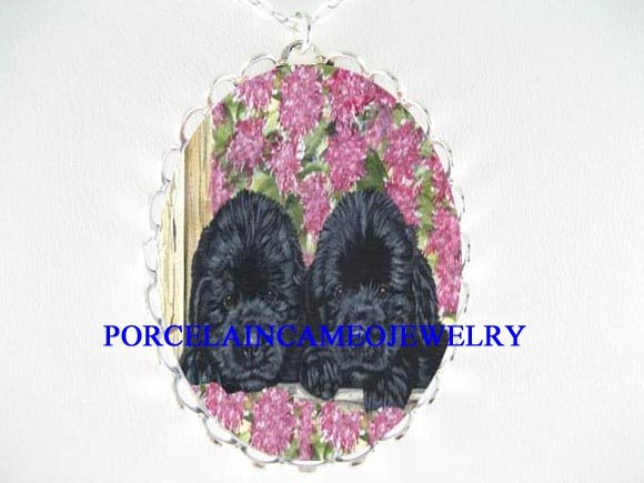 2 NEWFOUNDLAND PUPPY DOG PORCELAIN CAMEO NECKLACE