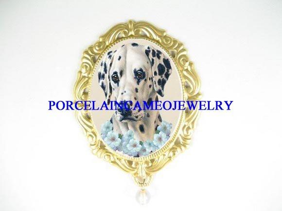 DALMATIAN DOG OPAL PORCELAIN CAMEO PENDANT PIN BROOCH