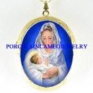 VIRGIN MARY BABY JESUS MADONNA CHILD CAMEO LOCKET NK