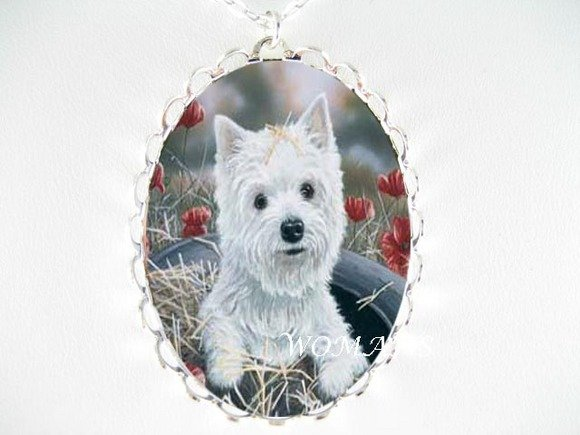 WEST HIGHLAND WHITE TERRIER PORCELAIN CAMEO NECKLACE