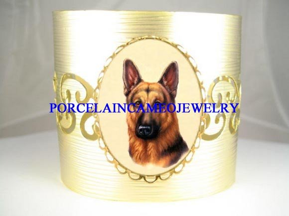 GERMAN SHEPHERD PORCELAIN CAMEO BANGLE CUFF BRACELET