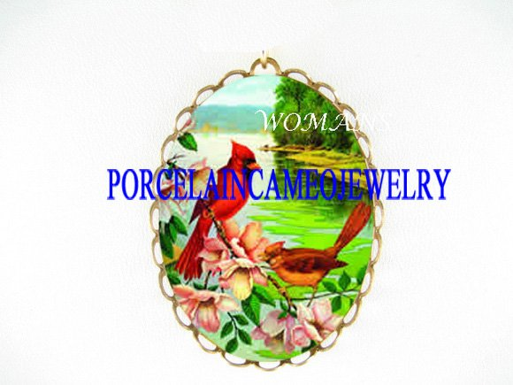 2 CARDINAL BIRD ROSE PORCELAIN CAMEO PIN PENDANT BROOCH