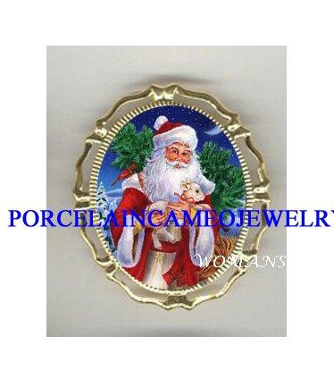 CHRISTMAS SANTA & LAMB PORCELAIN CAMEO PIN BROOCH