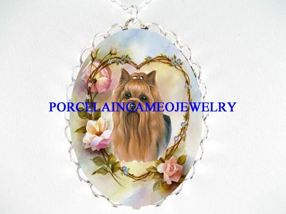 YORKSHIRE TERRIER DOG ROSE HEART CAMEO NECKLACE